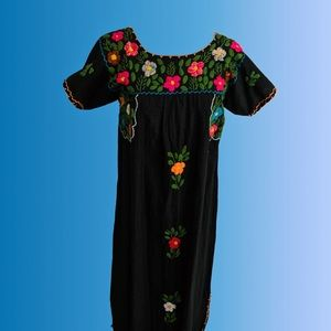 Vintage 1970s Black Floral Oaxaca Dress